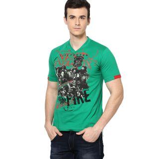 Shanty Trendy Men's Green Graphic Cotton T-Shirt