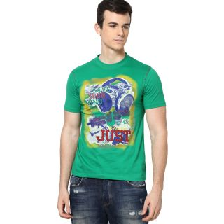 Shanty Men's Green Graphic Cotton T-Shirt