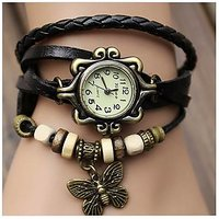 Women Genuine Leather Vintage Bracelet Watch Black