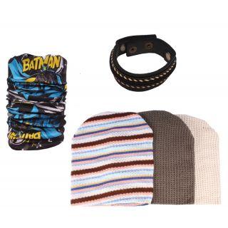 Sushito Stylish Set Of Wollen Caps With Bandana  Wrist Band JSMFHCP1315-JSMFHMA0647-JSMFHWB0959