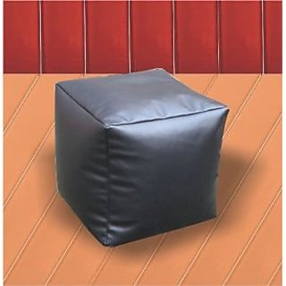JUPITER Bean Bag Cube -Black - Soft Leather Feel - Cover Only