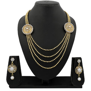 Meenaz Traditional Necklace Sets Jewellery Sets Gold Plated With Earrings For Women,Girls NL102