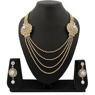 Meenaz Traditional Necklace Sets Jewellery Sets Gold Plated With Earrings For Women,Girls NL103