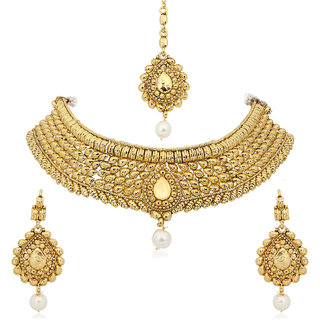 Meenaz Traditional Necklace Sets Jewellery Sets Gold Plated With Earrings For Women,Girls NL124