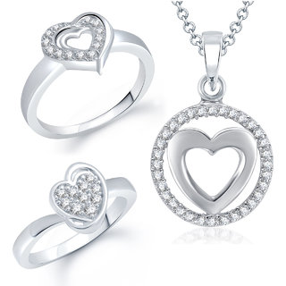 Meenaz Pendant Set bo Gold Plated CZ With American Diamond For Girls  Women  - Com1518