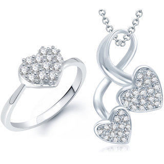 Meenaz Pendant Set bo Silver Plated CZ With American Diamond For Girls  Women  - Com11210