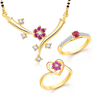 Meenaz Mangalsutra Jewellery Set bo Gold Plated For Women  - Com1208