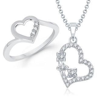 Meenaz Pendant Set bo Gold Plated CZ With American Diamond For Girls  Women  - Com15412