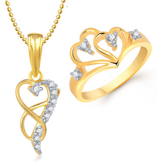 Meenaz Pendant Set bo Gold Plated CZ With American Diamond For Girls  Women  - Com16010
