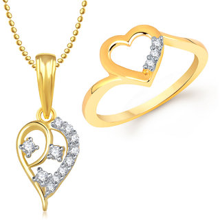 Meenaz Pendant Set bo Gold Plated CZ With American Diamond For Girls  Women  - Com1628