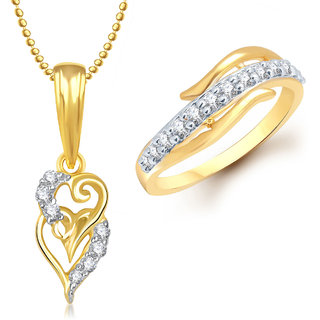 Meenaz Pendant Set bo Gold Plated CZ With American Diamond For Girls  Women  - Com16312