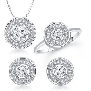 Meenaz Pendant Set bo Gold Plated CZ With American Diamond For Girls  Women  - Com19810
