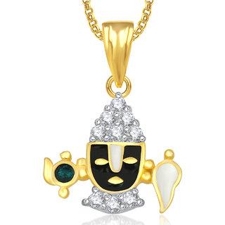 Meenaz khanda God Pendant With Chain For Men,Women Gold Plated In American Diamond Cz Jewellery
