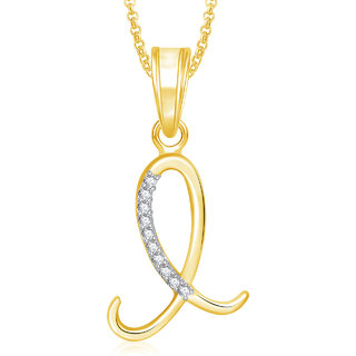 Meenaz Gold Plated L Letter Pendant Locket Alphabet Heart With Chain For Men And Women PS448