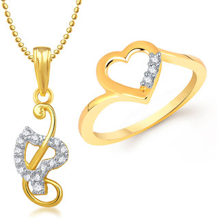 Meenaz Pendant Set bo Gold Plated CZ With American Diamond For Girls  Women  - Com16818