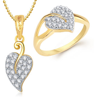 Meenaz Pendant Set bo Gold Plated CZ With American Diamond For Girls  Women  - Com16918