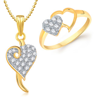 Meenaz Pendant Set bo Gold Plated CZ With American Diamond For Girls  Women  - Com17010
