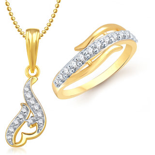Meenaz Pendant Set bo Gold Plated CZ With American Diamond For Girls  Women  - COM173