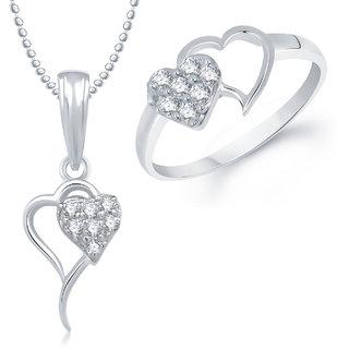 Meenaz Pendant Set bo Gold Plated CZ With American Diamond For Girls  Women  - Com18112