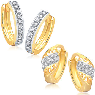 Meenaz Earrings Bali  Set Fancy Gold Plated For Girls And Women In American Diamond - Com224