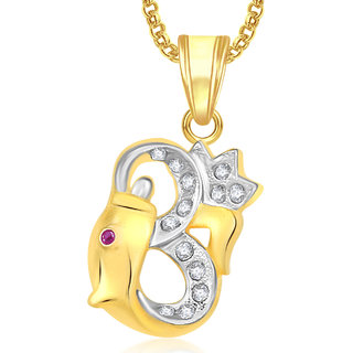 Meenaz Om God Pendant With Chain For Men,Women Gold Plated In American Diamond Cz Jewellery -GP350