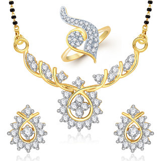 Meenaz Mangalsutra Jewellery Set bo Gold Plated For Women  - Com24916