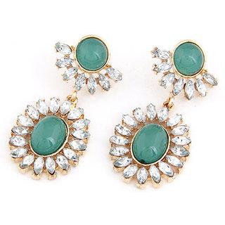 Shining Diva Non Plated Green Dangle Earrings For Women-CFJ6926er