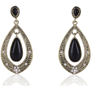 Shining Diva Non Plated Black Dangle Earrings For Women-CFJ6949er
