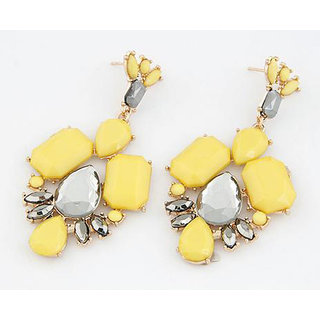 Shining Diva Non Plated Yellow Dangle Earrings For Women-CFJ6947er