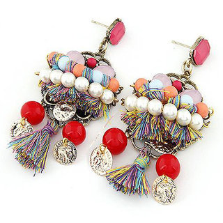 Shining Diva Non Plated Multi Dangle Earrings For Women-CFJ6964er