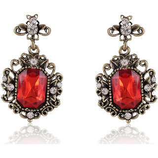 Shining Diva Non Plated Red Dangle Earrings For Women-CFJ6979er