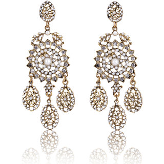 Shining Diva Non Plated White Dangle Earrings For Women-CFJ6991er