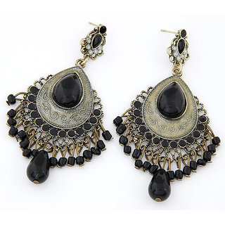 Shining Diva Non Plated Black Dangle Earrings For Women-CFJ6993er