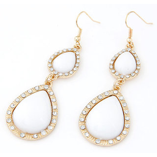Shining Diva Non Plated White Dangle Earrings For Women-CFJ7003er