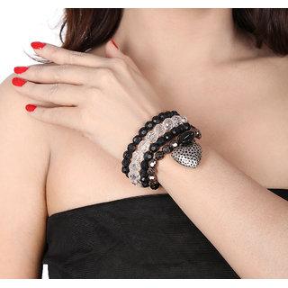 Shining Diva Non Plated Black Bracelets For Women-CFJ6270b