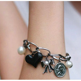 Shining Diva Non Plated Black Charm Bracelets For Women-CFJ6854b