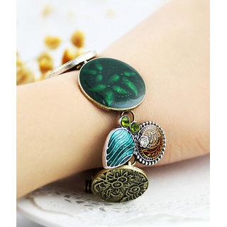 Shining Diva Non Plated Green Charm Bracelets For Women-CFJ7152b