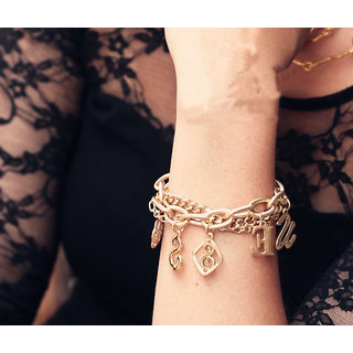 Shining Diva Non Plated Gold Charm Bracelets For Women-CFJ7153b