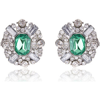 Shining Diva Non Plated Green Studs For Women-CFJ7005er