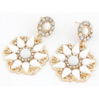 Shining Diva Non Plated White Dangle Earrings For Women-CFJ7010er