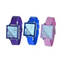 Glory Women Three Color Fancy Casual Watches Combo Of -3(purple-Blue-pink) By Sangho
