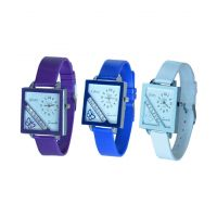 Glory Women Three Color Fancy Casual Watches Combo Of -3(purple-Blue-White) By Sangho