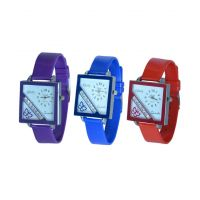 Glory Women Three Color Fancy Casual Watches Combo Of -3(purple-Blue-red) By Sangho