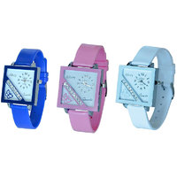Glory Women Three Color Fancy Casual Watches Combo Of -3Pink-Blue-blue) By Sangho