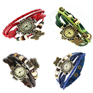 4 set combo butterfly watches red,green,brown,blue
