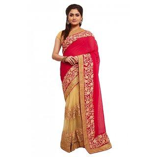 Avinandan wedding wear cherry  beige colour half and half georgette saree with blouse piece