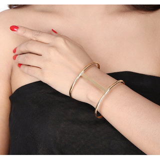 Shining Diva Non Plated Gold Cuff Bracelets For Women-CFJ7359b