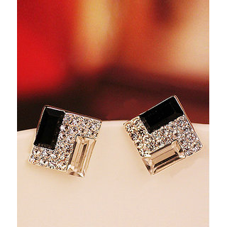 Shining Diva Non Plated Black Studs For Women-CFJ4055er
