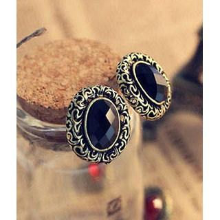 Shining Diva Non Plated Black Studs For Women-CFJ2467er
