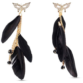 Shining Diva Non Plated Black Dangle Earrings For Women-CFJ4051er